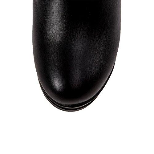 VogueZone009 Femme Rond à Talon Haut Haut Bas Couleur Unie Bottes avec Nœuds à Deux Boucles Noir