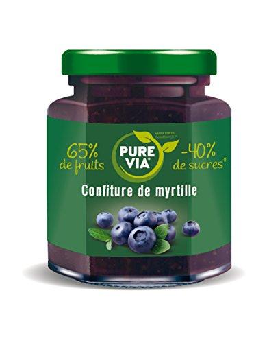 PureVia Confiture de Myrtilles 300 g - 65% de fruits et -40% de sucres par rapport à une confiture classique - Lot de 3