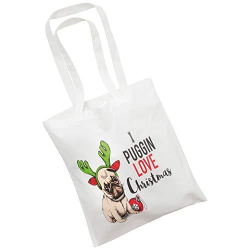 Christmas Shop - Borsa in tela con carlino di Natale Puggin Love (Taglia unica) (Bianco)
