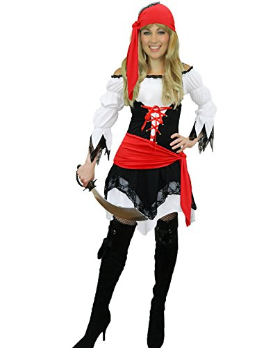 Yummy Bee - Edles Piraten Karneval Fasching Kostüm Damen + Hut Schwert Entermesser Karibik Größe 36 - 46 (38-40)