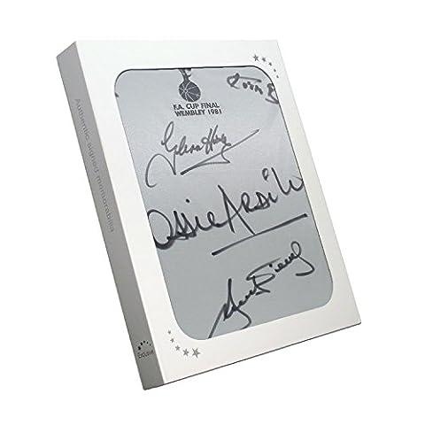 Tottenham Hotspur 1981 FA Cup Final Shirt Signed by Hoddle, Perryman, Burkinshaw, Ardiles, Villa. In Gift Box