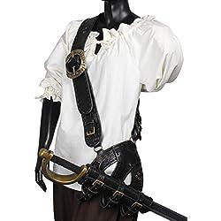 Canana de Piratas de calidad de piel LARP de espada Soporte Negro o Marrón Medieval Ritter Vikingo, negro