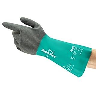 Ansell AlphaTec 58-435 Nitril Handschuhe, Chemikalien- und Flüssigkeitsschutz, Meergrün, Größe 10 (12 Paar pro Beutel)