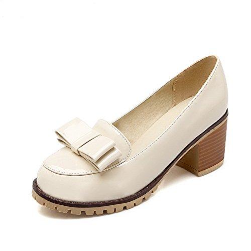 VogueZone009 Femme Pu Cuir à Talon Correct Rond Couleur Unie Tire Chaussures Légeres Beige