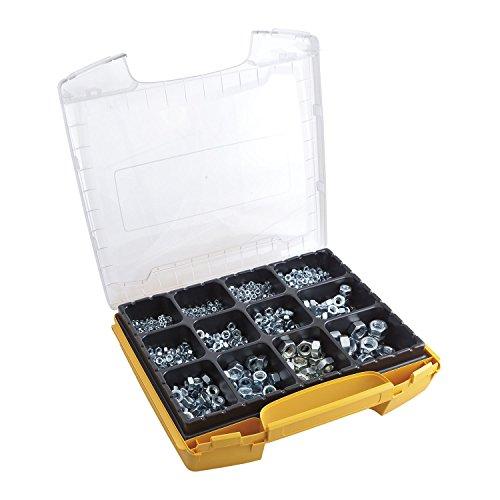 SECOTEC Profi Sechskant-Muttern-Set im hochwertigem I-Boxx Sortimentskoffer; 1100 Stück Gewindemuttern DIN934 verzinkt