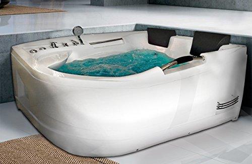 Whirlpool Luxus Badewanne Sevilla mit Massage & LED Eckwanne Versenkbar