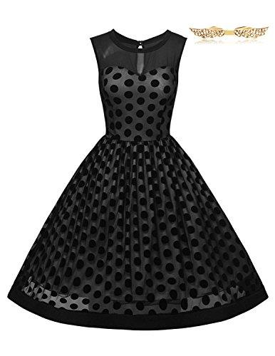 BYD da Donna Retro 1950's Vestiti a Pois Rockabilly Abiti Filati Net Vestito da Cerimonia (Linee T-shirt Retrò)