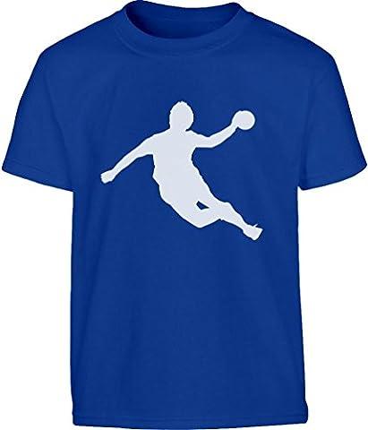 Handball Spieler in Action Silhuetten Fan Geschenk Kinder T-Shirt - Gr. 140-182 X-Small Blau (Mannschaft Locker)