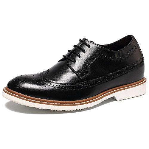 CHAMARIPA Chaussure Rehaussante de stylée marron a talonnette invisible pour homme fait grandir de 6,5 cm Soulier rehaussante en cuir pour homme Noir