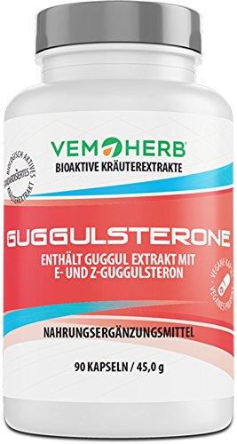 GUGGULSTERONE - Guggul Extrakt | hochdosiert | 10% E- und Z-Guggulsterone | Fatburner | Cholesterinsenker | 90 Kapseln | Höchste Phytopharmaka-Qualität -