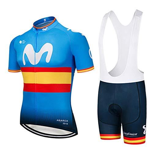ZHLCYCL Traje Ciclismo Hombre, Maillot Ciclismo y Culotte Ciclismo con 5D Gel Pad para Verano Deportes al Aire Libre Ciclo Bicicleta, MOV-Yellow, XXL