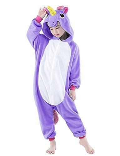 Kinder Einhorn Kostüme Flanell Einhorn Pyjamas Tier Cartoon Cosplay Schlafanzug Kostüme (125: 135-144cm, ()