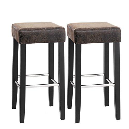 SONGMICS Barhocker 2er Set, gepolsterter Barstuhl, Sitzhöhe 72 cm, Stuhlbeine aus Massivholz, mit Fußstütze, Braun, LDC33BR -