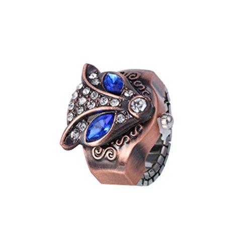 Swallowuk Civet Katzen mit Diamantring Uhren, personalisierte dekorative Uhren (blau)