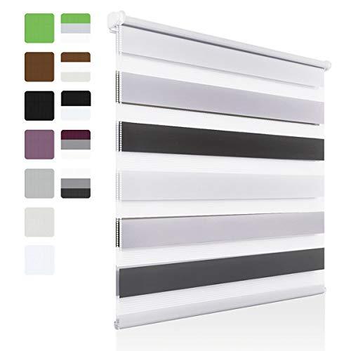 OUBO - Estor Doble (fijación sin Agujeros, poliéster, 60 x 150 cm), Color Blanco, Gris y Antracita