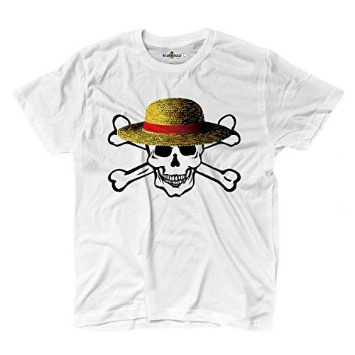 T-shirt homme Crâne Chapeau Paille dessins animés Fashion Cool Drapeau kiarenzafd Streetwear shirts, blanc, S