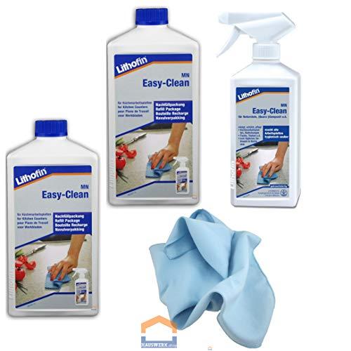 Hauswerk.shop Lithofin MN Easy Clean / 2 x 1 Liter + 500 ml Sprühflasche + Microfasertuch