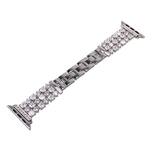 Bracelet Apple Watch 38mm,iWatch Argent Rosa Schleife® Bracelet Montre Acier Femme Fantaisie Bracelet de Remplacement Wristband fait à la main pour Apple Watch Series 1 2 3/Sport/Edition(No Tracker)