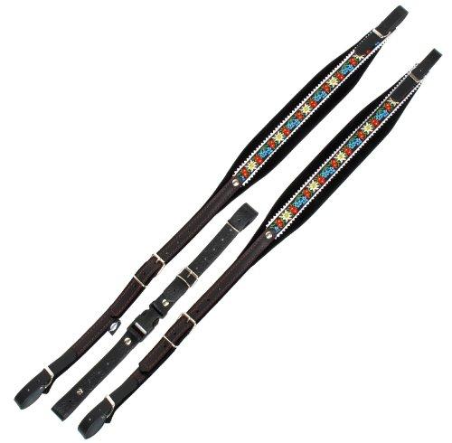 Alpenklang Harmonikariemen für 4-reihige Harmonikas edelweiß/schwarz (Längenverstellbar 97-104cm, Riemenbreite 7cm, Polsterung, edle Stickerei)