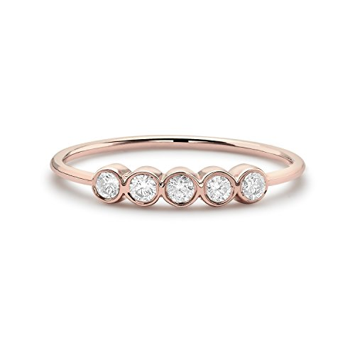 zoe-chicco-womens-14ct-rose-gold-five-bezel-set-diamonds-bar-stacking-ring-size-m