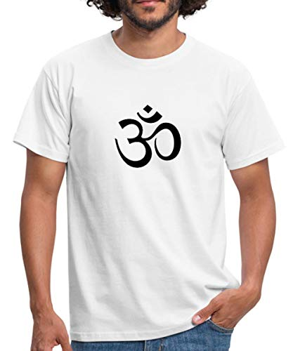 OM Zeichen, Symbol. T-Shirt für Männer Männer T-Shirt, L, Weiß