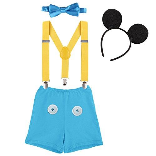 renen Kleinkind Baby 1./2./3. Geburtstag Mickey Mouse Halloween Kostüm Outfit Hosen+Fliege+Clip-on Hosenträger+Maus Ohren 4pcs Bekleidungssets Foto-Shooting 0011 Blau 12-18 Monate ()