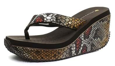 Dunlop Femme Serpent Platform Flip Flops, Multicolore, Pointure 41