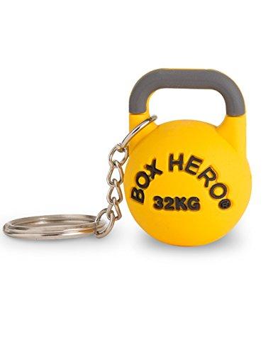 BOX HERO Competition Kettlebell Schlüssel-Anhänger 32kg, gelb, Metall-Ring, PVC