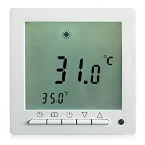 digital thermostat programmierbarer temperaturregler mit led screen fussbodenheizung. Black Bedroom Furniture Sets. Home Design Ideas