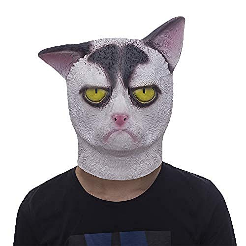Jigsaw Einfach Kostüm - Horrormaske Grumpy Cat Mask Halloween Kostüm Party Neuheit Tierkopf Latex Maske Schwarz und Weiß@Mürrische Katze,Gruselige Maske