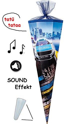 Preisvergleich Produktbild mit SOUND Effekt ! - Schultüte - Polizei Auto - 85 cm - 12 eckig - mit Tüllabschluß - Zuckertüte - mit / ohne Kunststoff Spitze - Nester - für Jungen - Polizeiwagen - Polizist - Autos / Fahrzeuge - Blaulicht