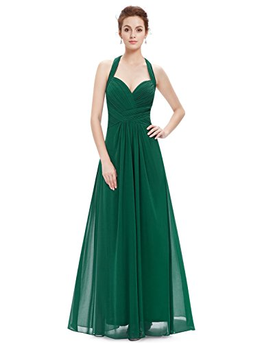 Ever Pretty Damen Elegant Rueschen Neckholder Lang Maxi Party Abendkleid 08487 Grün