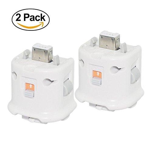 Wisenovo Motion Plus Adapter - [2 Stück] Externer Remote Motion Plus Sensor Controller Adapter für WII WII U Fernbedienung - Weiß
