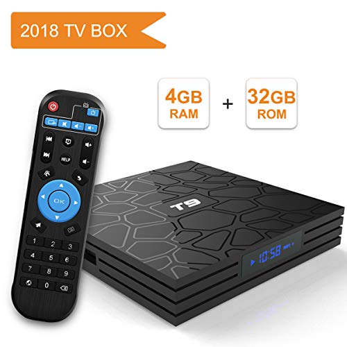 Android 8.1 TV BOX, Android Box con telecomando vocale, Turewell T9 RK3328 Quad Core 64 bit 4 GB RAM 32 GB ROM Smart TV BOX, Wi-Fi integrato, Uscita HDMI, Box TV UHD 4K TV