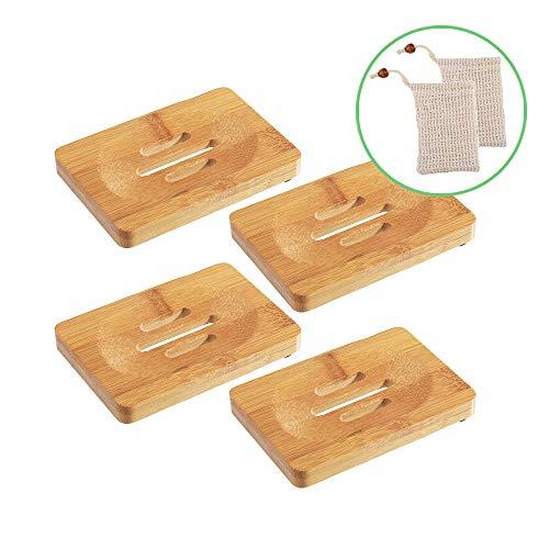 Smart Nice 4 Pcs Jabonera de Madera Natural bambú Bandeja de jabón para Ducha de baño Fregadero para jabón, Incluye 2 Piezas de Bolsa de jabón de sisal(Regalo)