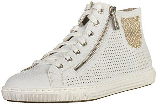 5ecdbddcf3f594 Rieker Damen L0925 Hohe Sneaker Weiß Weiss Lightgold - kinderaerztin ...