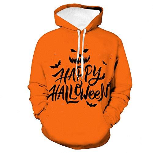 XSH Halloween-Strickjacke-Kürbis-Farben-Cosplay Mit Kapuze Liebhaber Der Strickjacke-Drawstring-3D,XXXL - Boatneck Strickjacke