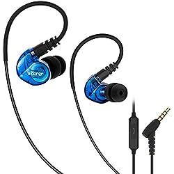 Ecouteur Sport, Adorer RX6 Basse Écouteurs Intra-Auriculaires avec Micro, Anti-Bruit et Résistant à la Transpiration Casque Sport Filaire pour iPhone, iPad, Samsung, Smartphones - Bleu