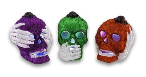 -Hören, Sprechen, See No Evil Glitter Skulls Set von 3 (Sprechen Schädel Halloween)