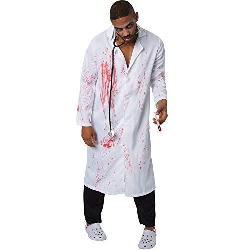 Chirurg Kostüm Patienten - dressforfun 900445 - Herrenkostüm Gruseliger Doktor, Blutverschmierter Mantel und Lange Schwarze Hose (XL | Nr. 302288)