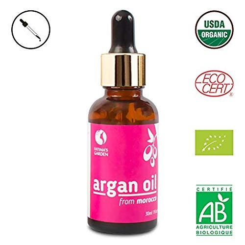 Arganöl von Fatima's Garden für Gesicht, Haare, Haut und Nägel, zertifiziert BIO durch USDA und Ecocert - 100% reines, natives, kaltgepresstes Öl - marokkanische Anti-Aging-Feuchtigkeitspflege - 30ml