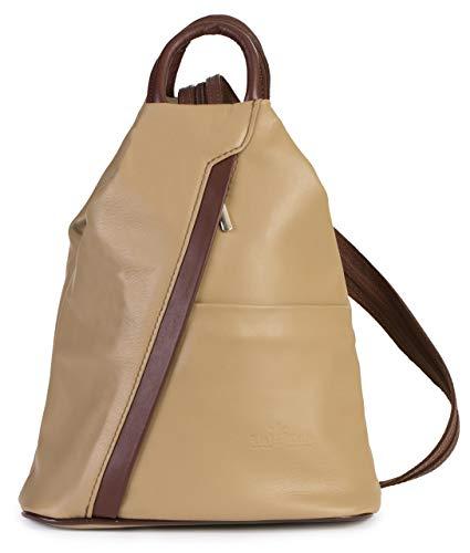 Brown Italienischen Leder Handgefertigt (LIATALIA Unisex Rucksack aus weichem italienischem Leder, wandelbarer Riemen, kleiner Rucksack - Alex, Braun (Medium Taupe - Brown Trim), Einheitsgröße)