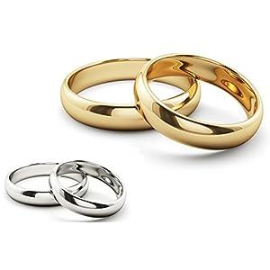 Ardeo Aurum Trauringe Damenring und Herrenring aus 375 Gold Weißgold hochglanzpoliert Eheringe Paarpreis