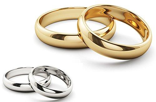 Ardeo Aurum Trauringe Damenring und Herrenring aus 375 Gold Gelbgold oder Weißgold hochglanzpoliert Eheringe Paarpreis