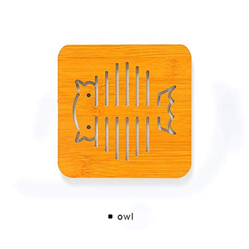 eegwbang Bambus Isolierung Table Mat Cartoon Platzdeckchen Platten-Teller-Topf Schüssel Mat Coaster braun gelb L -