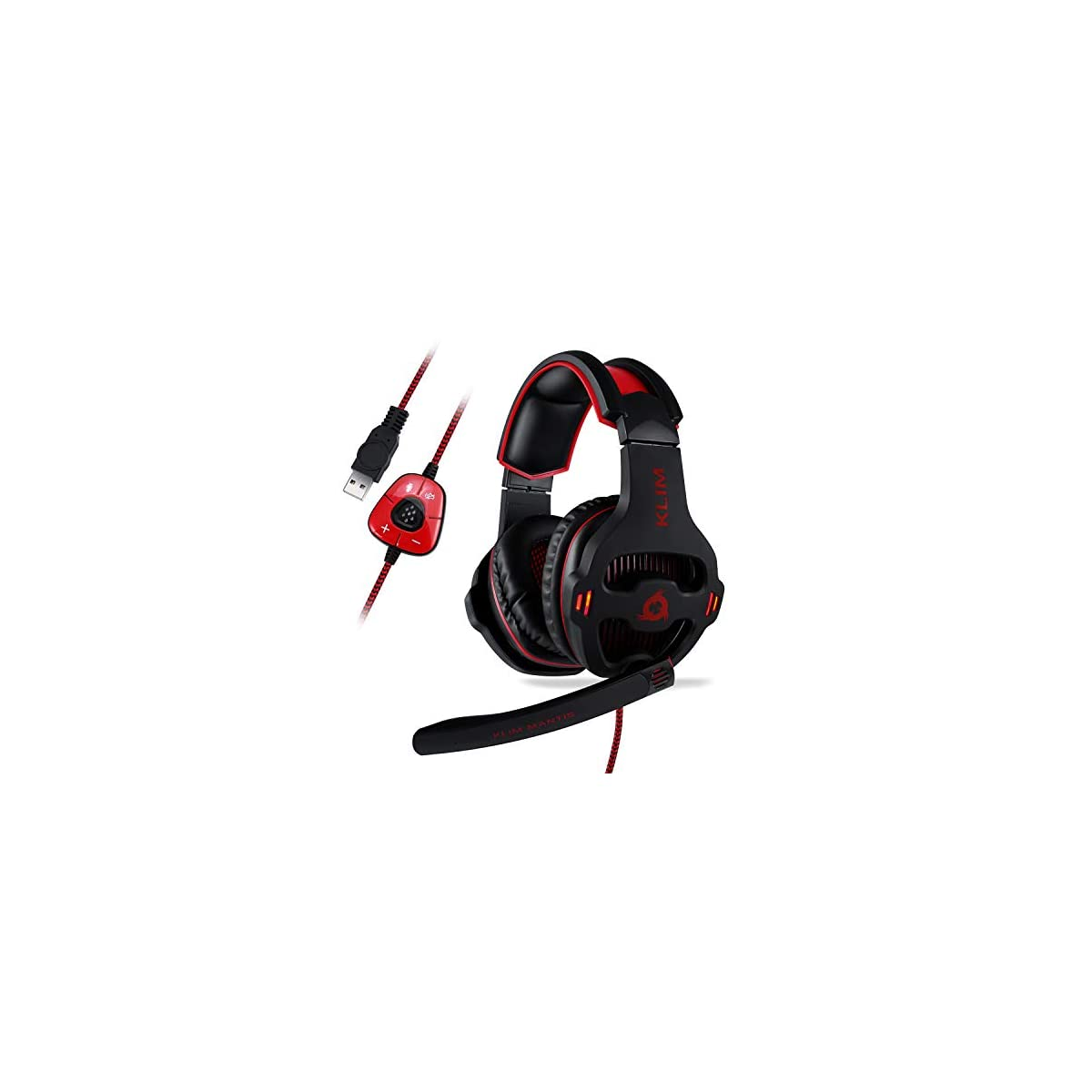 ⭐️ KLIM Mantis – Gaming Headset with Mic – for PC, PS4, Nintendo Switch, Mac, Mobile – USB 7.1 – over Ear High Quality Headphones [ New 2019 Version ] Noise Cancelling Headphone and Microphone 41 2BIjU58bWL