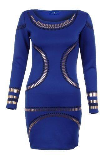 Sapphire pour femmes Doré Celebrity Jewellery Kim Tunique Bodycon ajusté-Clothings Robe courte pour femme Bleu