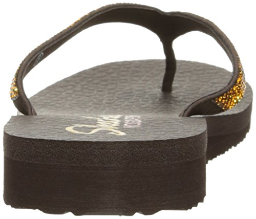 Skechers Meditation Break Water, Tongs Femme, Noir Chocolate Rhinestone