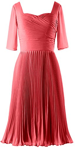 MACloth Women Half Sleeves Mother of Bride Dress Chiffon Cocktail Formal Gown Watermelon
