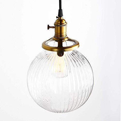 Pathson Industrial Vintage moderne Victoria hängende Decke Anhänger Leuchte Loft Bar Küche Insel Kronleuchter mit gerippten Globus Klarglas Schatten (Antik) -